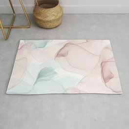 Blush and Blue Flowing Abstract Painting Rug