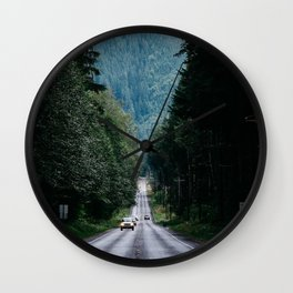 road trees marking fog forest movement Wall Clock
