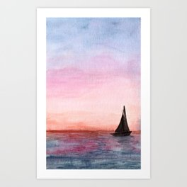 Sailboat at Sunset Watercolor Art, Boat Silhouette Painting, Sunrise over the Ocean Art Print