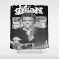 50s Shower Curtains featuring  Dean Poster (Circa mid 50s) by Chris' Landscape Images & Designs