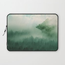 Mystical Forests - Forest tapestry, atmospheric tapestry, foggy forest, relaxing forest, green Laptop Sleeve