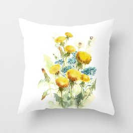 Watercolor flowers of blowball and forget-me-not Throw Pillow