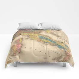 Vintage Italy Geology Map (1844) Comforters