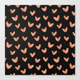 Rose Gold Hearts on Black Canvas Print