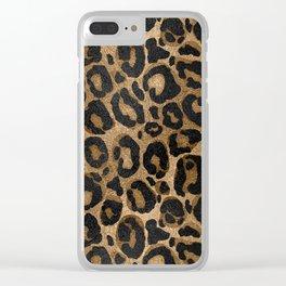 Golden and Black glitter  Leopard/ Jaguar print Clear iPhone Case