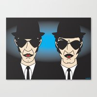 blues brothers Canvas Prints featuring THE BLUES BROTHERS by Laertis Art