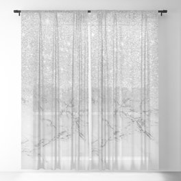 Modern faux grey silver glitter ombre white marble Sheer Curtain