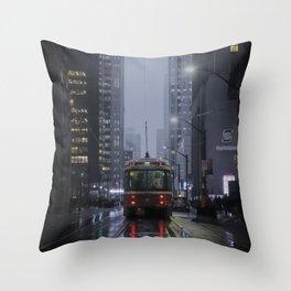 City lights of downtown Toronto - Street Photography Throw Pillow