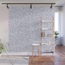 Block Printed Dusty Purple and White Stars Wall Mural