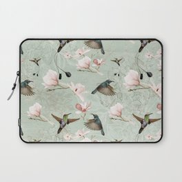 Vintage Watercolor hummingbird and Magnolia Flowers on mint Background Laptop Sleeve
