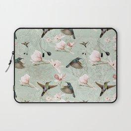 Vintage Watercolor hummingbird and Magnolia Flowers on mint Background Laptop Sleeve