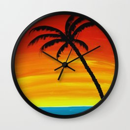 Sunset Palm Wall Clock
