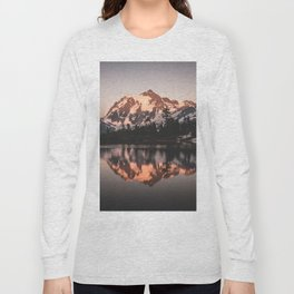 Alpenglow - Mountain Reflection - Nature Photography Long Sleeve T-shirt