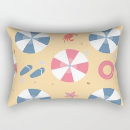 Summer Seamless Pattern. Beach with umbrellas and other summer elements Rectangular Pillow