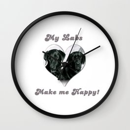 "Black Labrador ""My Labs Make me Happy"" Wall Clock"