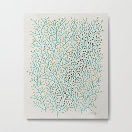 Berry Branches – Turquoise & Gold Metal Print