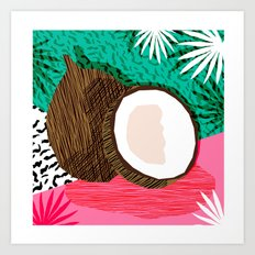 Bada Bing - memphis throwback tropical coconuts food vegan nature abstract illo neon 1980s 80s style Art Print