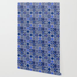 -A34- Blue Traditional Floral Moroccan Tiles. Wallpaper