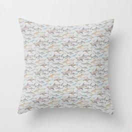 Watercolour shark pattern on pale blue Throw Pillow