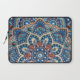 Blue dot art mandala Laptop Sleeve