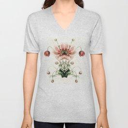 Botanical Flower Glitch IV Unisex V-Neck