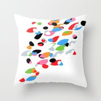 swimming Throw Pillows featuring Swimming by Nicki Traikos