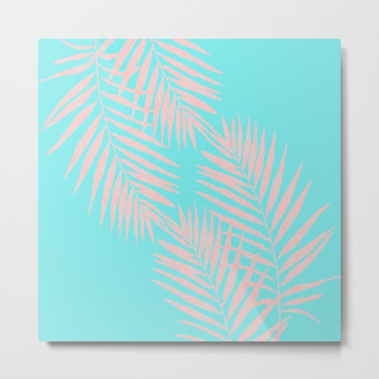 Abstract modern pink Tropical Exotic Palm Leaves on aqua by #Utart Metal Print