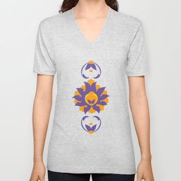 Islamic Illumination purple and orange palette Unisex V-Neck