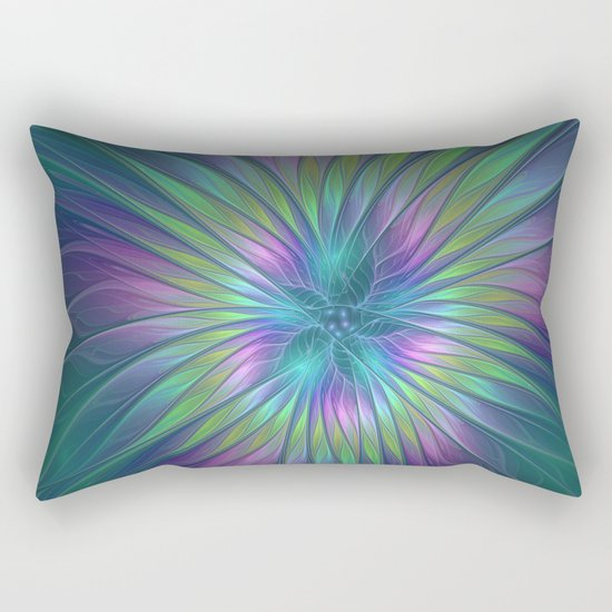Colorful and luminous Fantasy Flower, Abstract Fractal Art Rectangular Pillow