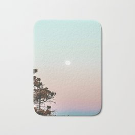 Rainbow Color Sunset // Incredible Clear Sky Photograph Through the Forest Trees Bath Mat