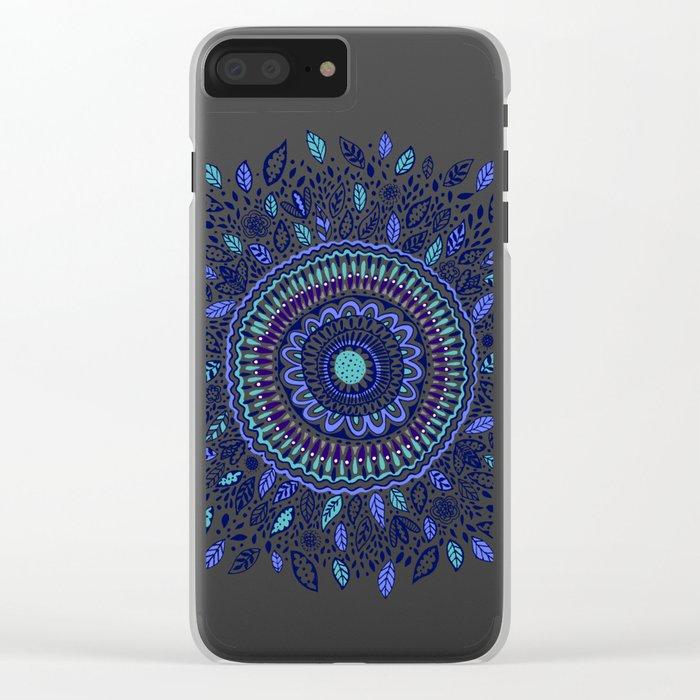 Indigo Flowered Mandala Clear iPhone Case