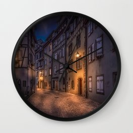 Photos France Colmar Street night time Street lights Cities Building Night Houses Wall Clock