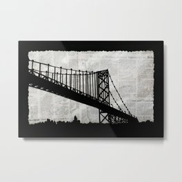News Feed , Newspaper Bridge Collage Metal Print