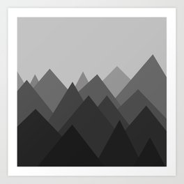 Black and White Abstract Mountains Art Print