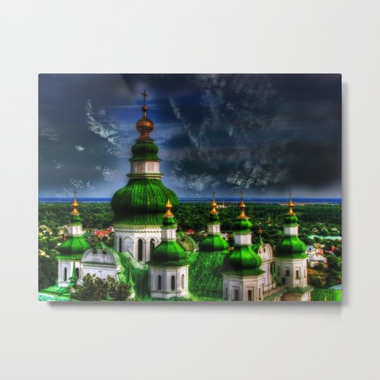 Domes of Trinity Cathedral, Chernigov, Ukraine Metal Print
