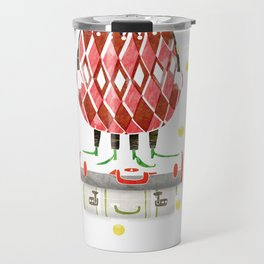 Cat In A Hat On A Suitcase Stack Travel Mug