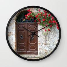 Italian Red Roses Wall Clock