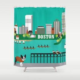 Boston, Massachusetts - Skyline Illustration by Loose Petals Shower Curtain
