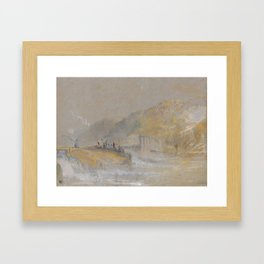 """J.M.W. Turner """"Foul by God - River Landscape with Anglers Fishing From a Weir"""" Framed Art Print"""
