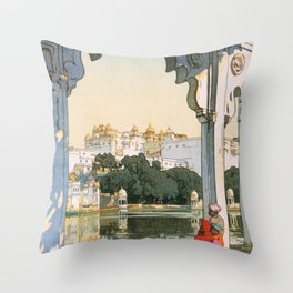 12,000pixel-500dpi - Yoshida Hiroshi - Castles In Udaipur - Digital Remastered Edition Throw Pillow