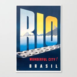 1950 Brazil Rio De Janeiro Travel Poster Canvas Print