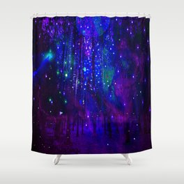 TREES MOON AND SHOOTING STARS Shower Curtain