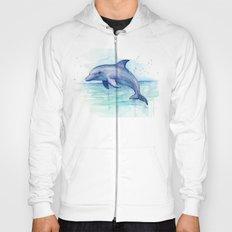Dolphin Watercolor Sea Creature Animal Hoody