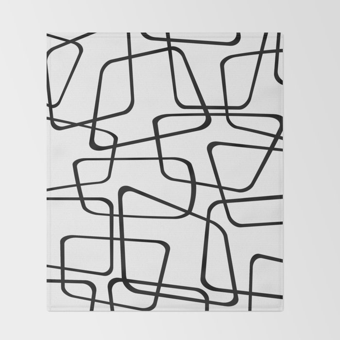 Mid Century Black And White Pattern Throw Blanket