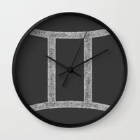 gemini Wall Clocks featuring Gemini by David Zydd
