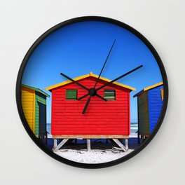 Beach Cabins in South Africa Wall Clock