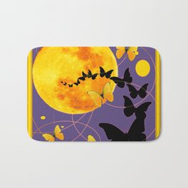 Puce Color Butterfly Full Moon Art Abstract Bath Mat