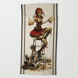 Zombie Beer Girl Beach Towel