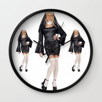 nicolas cage Wall Clocks featuring Nun-olas Cage by SharkNoises