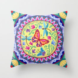 Spring Melody Mandala Throw Pillow
